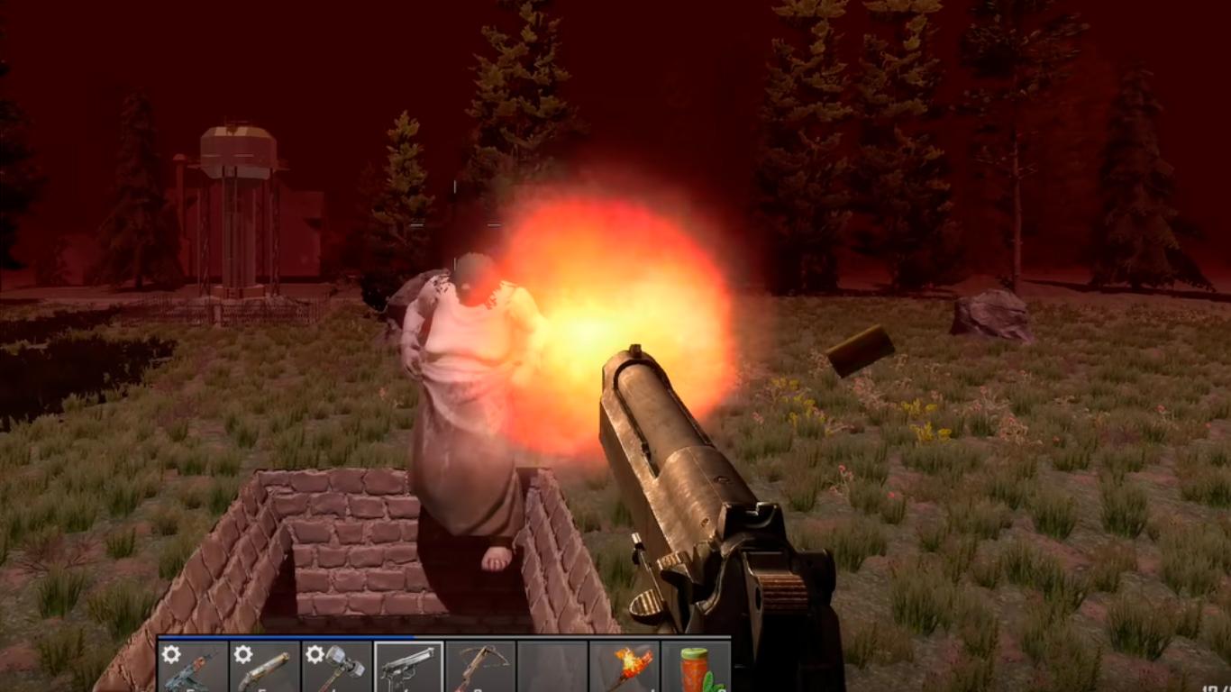 gameplay 7d2d arma a distancia disparando